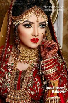 stunning bridal makeover by zahid khan, Bangladesh Pakistani Bridal Makeup, Indian Bridal Wear, Asian Bridal, Bride Indian, Bridal Makeup Looks, Bridal Beauty, Bridal Outfits, Bridal Dresses, Moda Indiana
