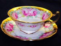 POINTONS ENGLAND PINK ROSES GOLD SQUARISH ANTIQUE TEA CUP AND SAUCER #POINTONSchinaEngland by yvette