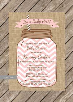 Rustic Baby Shower Girl InvitationMason Jar Burlap by LeeandLoe, $17.00