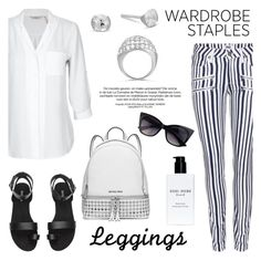 """""""Wardrobe Staples: Leggings"""" by blossom-jewels ❤ liked on Polyvore featuring Paige Denim, MICHAEL Michael Kors, Bobbi Brown Cosmetics, Leggings, contestentry, WardrobeStaples and Blossomjewels"""