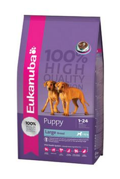 Eukanuba Puppy Chicken Large Breed 3kg, 7.48kg & 15kg bags - Eukanuba Puppy Large Breed nutritionally supports balanced muscular and skeletal development of large and giant breeds. It contains specially adjusted levels of calcium and phosphorus combined with a perfect balance of ingredients helps facilitate the management of growth that is critical for the proper development of large breed puppies