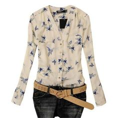 New Fashion Women Chiffon Blouse Bird Print Long Sleeve Casual Slim Shirts Tops #Unbranded #Blouse #Casual
