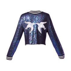 c. 1970's Estevez Couture Vintage Iridescent Blue Sequin + Beaded Silk Jacket with Birds motif...