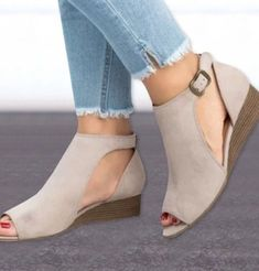 Alibato women wedge mid heels cover t strap ankle sandals shopee philippine Peep Toe Wedges, Peep Toe Heels, Wedge Sandals, High Heels, Womens Summer Shoes, Womens Flats, Fisher, Lady, Mid Heel Shoes