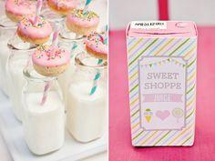 chevron pastel sweet shoppe party: mini doughnuts + milk bottles, juice box wraps  {Paiges of Style}