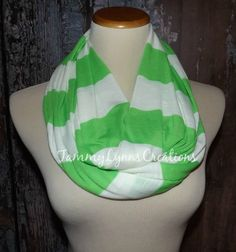 Lime Green and White Stripe Infinity Scarf by tammylynnscreations