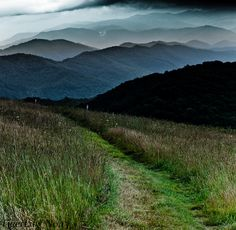 This is the Appalachian Trail  overlooking the Smoky Mountains.