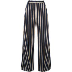 palmer//harding Serra Cropped Cotton Trousers (6.250.180 IDR) ❤ liked on Polyvore featuring pants, capris, blue, high-waisted wide leg pants, zipper pants, high waisted wide leg pants, navy blue pants and cropped capri pants