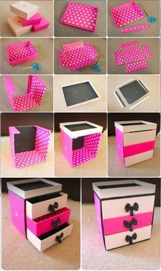 Amazing DIY makeup storage ideas to help fight clutter. Organizers for small spaces, easy ideas for a cardboard box vanity, mason jars ideas and much more.Diy makeup organizer is a perfect way to experiment with your belongings as well as to put ever Cardboard Drawers, Cardboard Crafts, Paper Crafts, Diy Drawers, Room Crafts, Plastic Drawers, Craft Rooms, Storage Drawers, Cardboard Storage