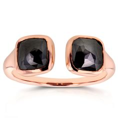 Annello Two Collection 14k Rose Gold 2 2/5ct TDW Black Bezel Cushion Diamond 2-Stone Wrap Around Ring
