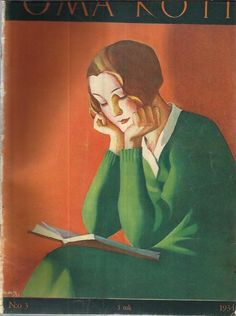 Oma Koti, March 1934. Martha Wendelin (Finnish. 1893-1986). Wendelin's career was primarily in illustration work, In particular magazine cover images. Wendelin focused on home, family, and the Finnish nature and countryside. She illustrated and glorified mothers and star-eyed children, often showing them doing household chores.
