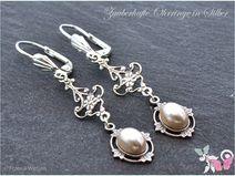 Vintage Ohrhänger 925 Silber Perle weiß lang creme