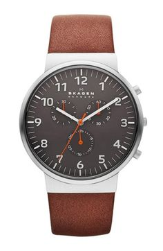 Free shipping and returns on Skagen 'Ancher' Round Chronograph Leather Strap Watch, 40mm at Nordstrom.com. Well-measured pops of fiery color embolden the numeric, three-eye chronograph dial atop a comfortable leather watch strap.
