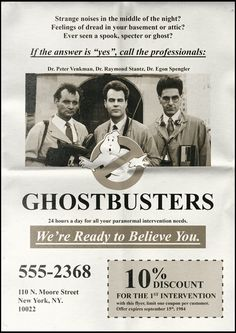 Philippe Desfretier: Ghostbusters - We're ready to believe you Ghostbusters Birthday Party, Ghostbusters 1984, The Real Ghostbusters, Ghostbusters Costume, Robert Mcginnis, Skottie Young, Movie Props, Movie Tv, Movie Themes