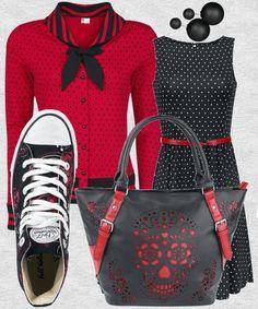 Il primo #look strizza l'occhio al mondo delle Pin Up e degli anni'50 con l'abitino nero smanicato a pois bianchi abbinato al cardigan rosso con pois neri, bottoncini e fiocco. Per rendere il tutto più adatto alla scuola, ai piedi scarpe sportive, una borsa capiente in similpelle e un paio di semplici orecchini con doppia perla.