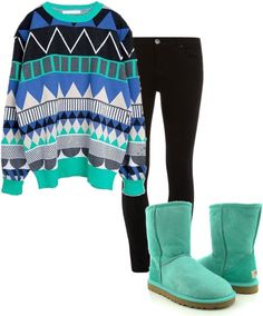 Cute multi blue colored sweater with a tribal type print