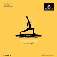 Do YOGA for peace of mind and soul. Creative Poster Design, Creative Posters, Indian Festivals, Hindu Festivals, Yoga Day Quotes, Yoga Flyer, Navratri Wishes, Yoga Festival, International Yoga Day