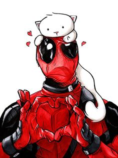 Deadpool Kitty Art Print 8.5x11 Cat Marvel Comic by MaryLuellyn