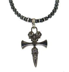 Collana in ematite, rondelle di strass Swarovski, pendente in metallo