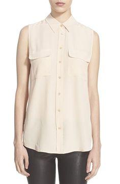 EQUIPMENT 'Slim Signature' Sleeveless Silk Shirt. #equipment #cloth #