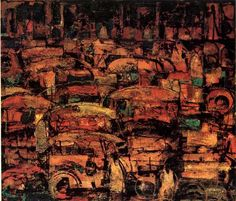 JEEPNEYS by VICENTE MANANSALA  This painting shows the daily congestion in the metropolis. It is drawn from a neo-realism style in which Manansala uses. The colors used are pre-dominantly shades of yellow.