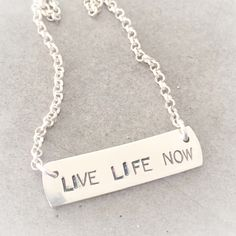 Live life now❗️ Live Life, Dog Tags, Dog Tag Necklace, Silver, Jewelry, Jewlery, Money, Bijoux, Schmuck