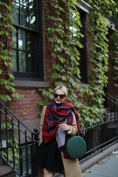 Reversible Plaid Cape: Modena  (in two other color here  and here ). Coat: Vince . Skirt: old, similar . Shoes: Everlane, simi...
