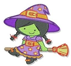 Little Witch 4x4 | Halloween | Machine Embroidery Designs | SWAKembroidery.com Bunnycup Embroidery