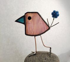 Pale Pink Stained Glass Scrappy Bird
