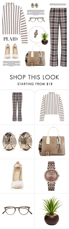 """""""Plaid"""" by ansadesigns ❤ liked on Polyvore featuring Tory Burch, Maje, Melissa Joy Manning, Marc Jacobs, Alexander White, Michael Kors and Oliver Peoples"""