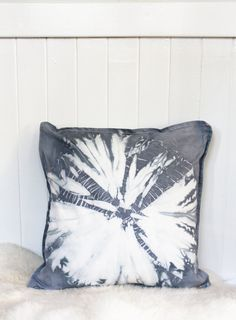 Shibori Grey Dandelion Pillow COVER 20 in x 20 by WildBlueTextiles