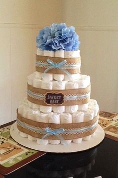 Baby boy shower vintage diaper cakes 21 new ideas Vintage Diaper Cake, Diaper Cake Boy, Baby Shower Diapers, Baby Shower Cakes, Baby Shower Themes, Baby Shower Gifts For Boys, Baby Boy Shower, Burlap Baby Showers, Pamper Cake