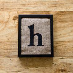 SALE. Letter H burlap wall art, alphabet decor, initials, lowercase. $20.00, via Etsy.
