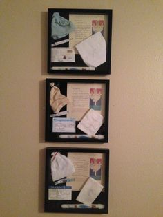Shadow box for each of my boys: birth card, bracelet, and hat with baptism certificate, cloth and candle :)