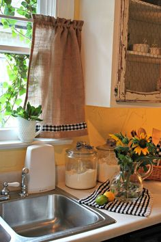DIY Burlap Curtain: Trimmed with checkered ribbon & hung with a tension rod. (for kitchen) don't like checkered ribbon. Farmhouse Kitchen Curtains, Kitchen Redo, Kitchen Remodel, Kitchen Cabinets, Black Cabinets, Kitchen Shelves, Cortinas Country, Burlap Curtains, Gingham Curtains