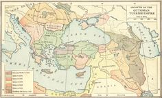 Map of the growth of the Ottoman Turkish Empire, 1355-1683.