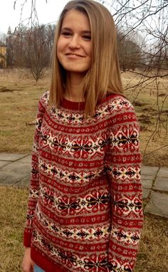 Red Fair Isle Sweater keep pattern for yoke then do one color crimson for the rest of the body