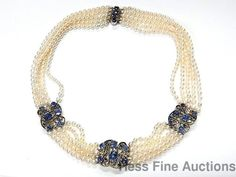 Edwardian 15ctw Fine Natural Sapphire White Gold top Diamond Pearl Necklace #MultiStrand