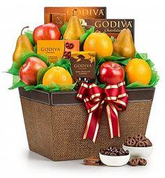 Christmas gift baskets fruit and chocolate
