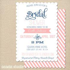 Vintage Scalloped Bridal Shower Invitation Baby Shower Invite Pink & Blue Printable OR Printed Card. $15.00, via Etsy.