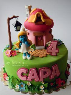 Trop cute!!! Gâteau schtroumpfette