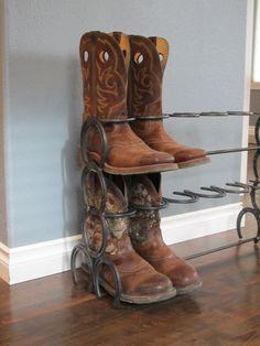 Rustic 6 Pair Horse Shoe Boot Rack. by DavisHomeDecorStore on Etsy
