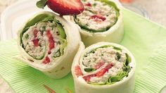 Chicken salad rollups. Green onion, walnuts, poppy seed dressing (all in food processor) Spread cream cheese spread + rest of dressing. then lettuce, strawberries. Refrigerate. Cut.