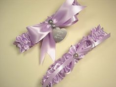 Wedding Garter Set with Swarovski Crystals and Personalized Engraving Available in Your Color Choice