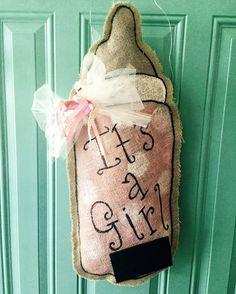 It's a Girl Burlap Door Hanger by RusticCopper on Etsy