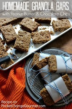 Granola Bars with Peanut Butter & Chocolate Chips :: Recipe on PocketChangeGourmet.com