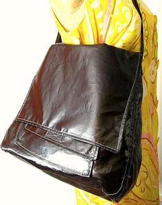 Vegan Handbag Black Linen Covered with Clear Vinyl by PippiHepburn, $135.00