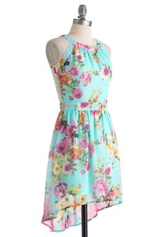 All Day Date Dress - Blue, Multi, Floral, Daytime Party, High-Low Hem, Short, Cutout, Lace, Sleeveless, Crew, Spring