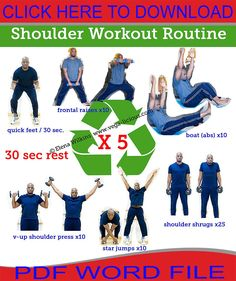 Today's shoulder exercises workout routine will help you get your shoulders looking fabulous and ready for strapless summer dresses. Ab Workout Men, Insanity Workout, Best Ab Workout, Plank Workout, Dumbbell Workout, Workout Schedule, Workout Plans, Workout Routines, Fitness Routines