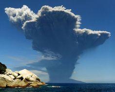 Smoke rises from Mount Shindake as it erupts on Kuchinoerabu Island on Friday morning, in this photo taken from the neighboring island of Yakushima by underwater photographer Itaru Takaku in Kagoshima Prefecture.